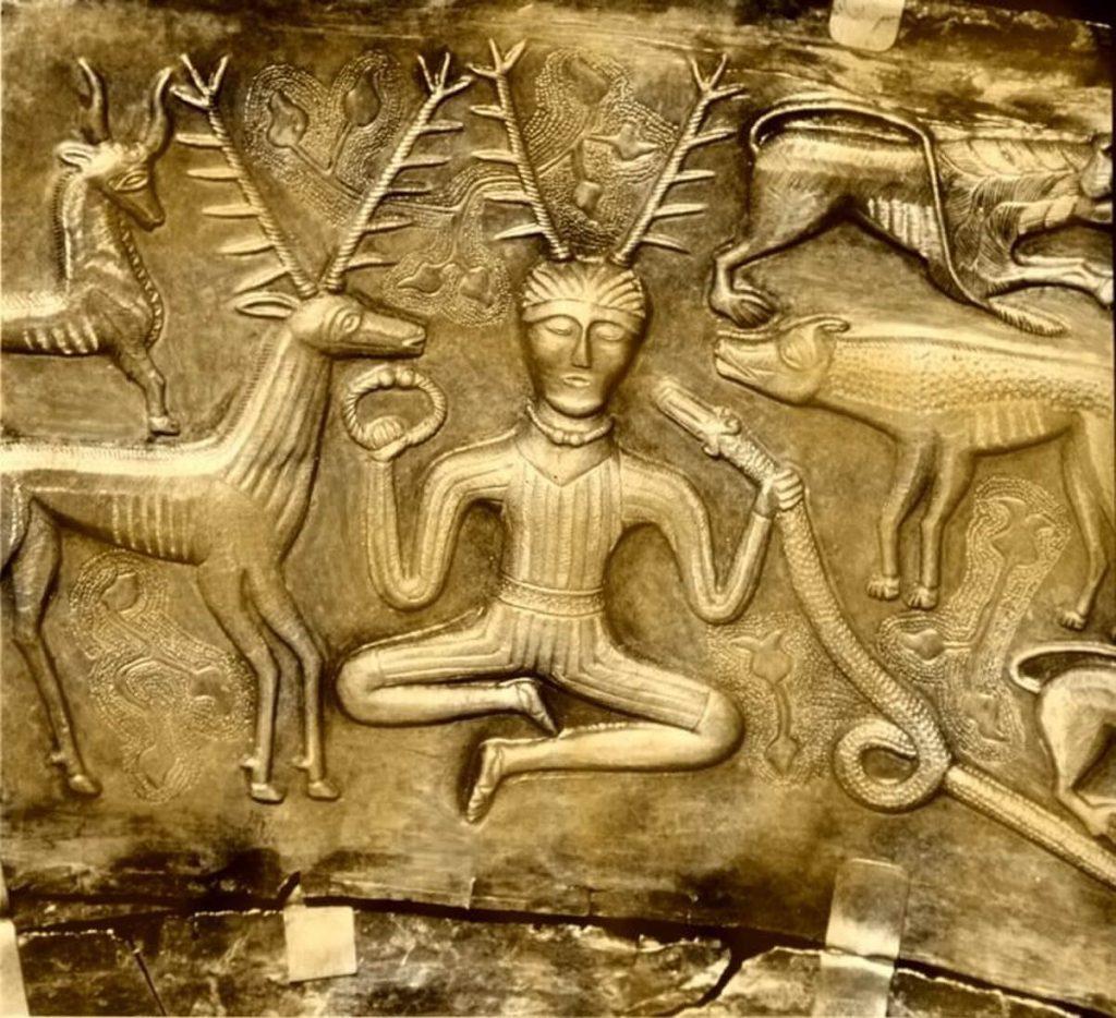 The Celtic Horned God, Cernunnos, on the Gundestrup Cauldron. God of fertility, life, animals.