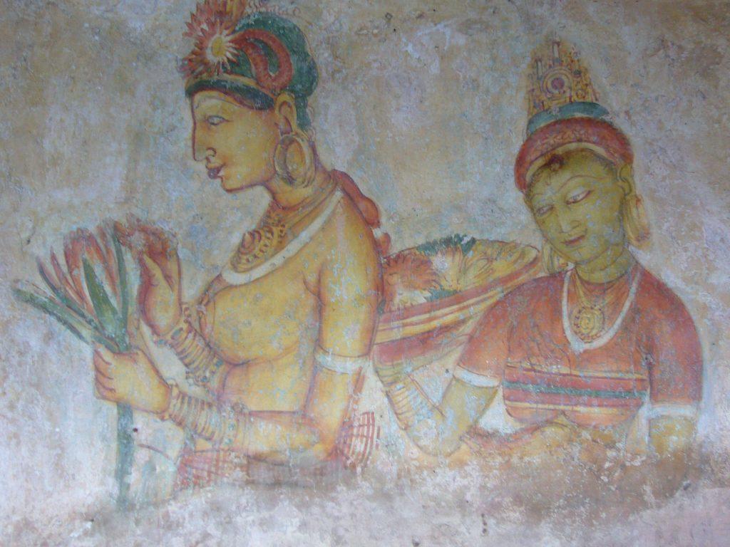 Fresco of women preparing Soma in Sigiriya Caves in Sri Lanka