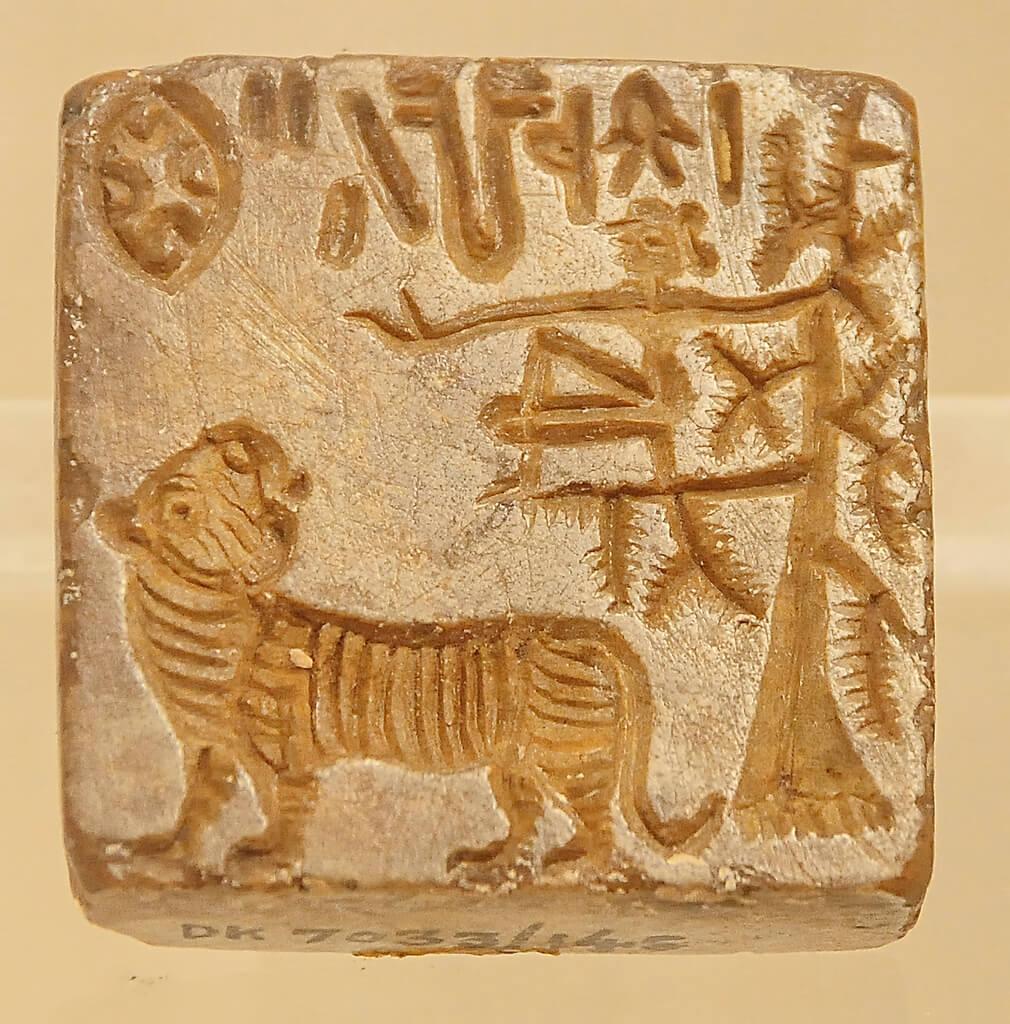A seal bearing a tiger. The tiger similar to Durga's sacred mount (vahana).