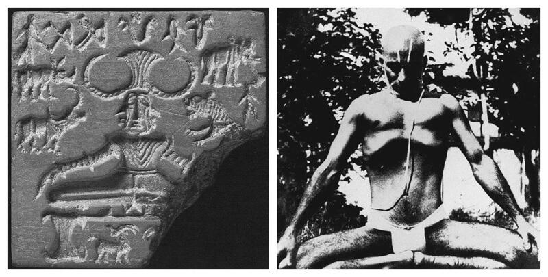 Sri Krishnamacharya sitting in Mulabandhasana in an image next to the Pashupata Seal found at Mohenjo Daro. The postures look very similar.