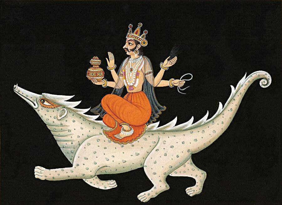 Varuna (God of Water) riding a crocodile.